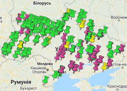 Карта розміщення біоенергетичних об'єктів: котельні, ТЕС, ТЕЦ в Україні